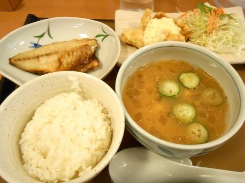 冷や汁と鶏南蛮定食