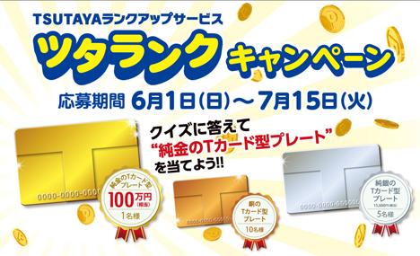 100万円相当の純金Tカード型プレートが当たる!ツタランク キャンペーンが始まりました!