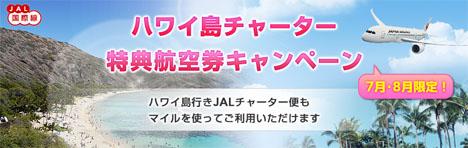 JALのハワイ島チャーター特典航空券キャンペーンが始まりました!夏休みでも成田~ハワイ島(コナ)線往復が50,000マイル~!