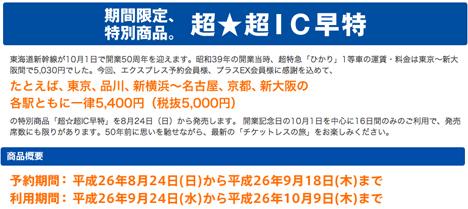 東京~新大阪間が5,400円!東海道新幹線開業50周年を記念して、「超☆超IC早特」を発売!