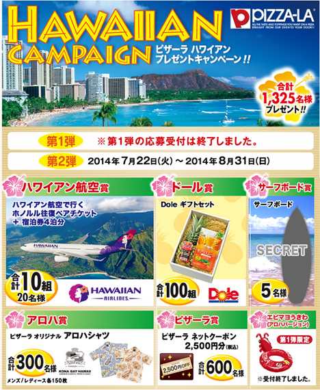 ハワイアン航空の航空券とペア宿泊券4泊分などが当たる!ピザーラは会員登録で素敵な賞品があたるキャンペーンを開催中です!