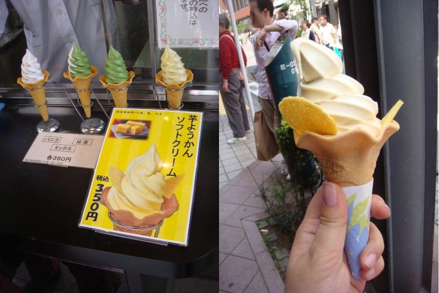 浅草 舟和本店の 芋ようかんソフトクリーム