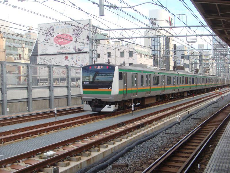 上野東京ラインの試運転(御徒町駅)