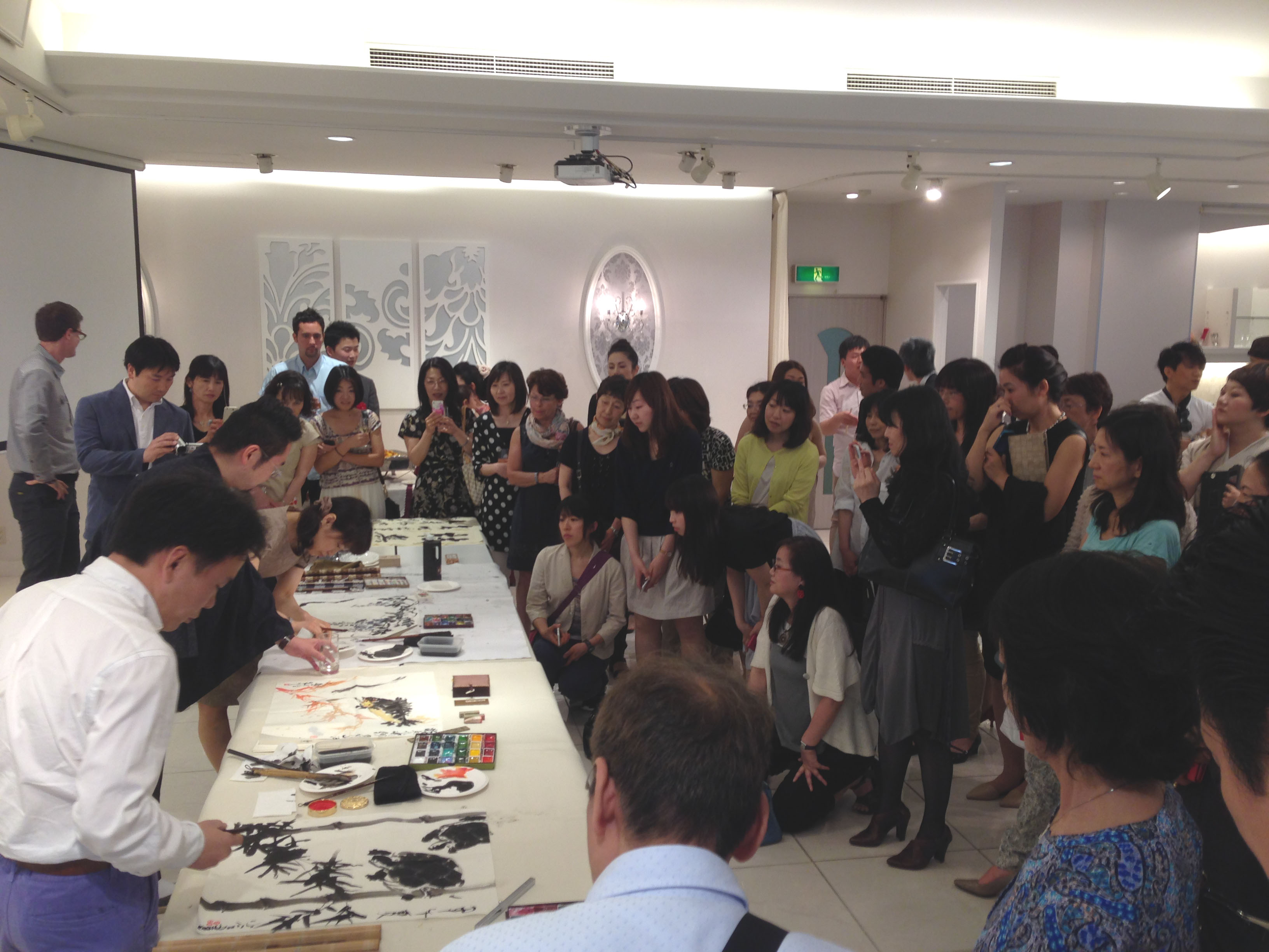 洛陽中国書法水墨画院展 2014 祝賀会 揮毫会 水墨画 実演