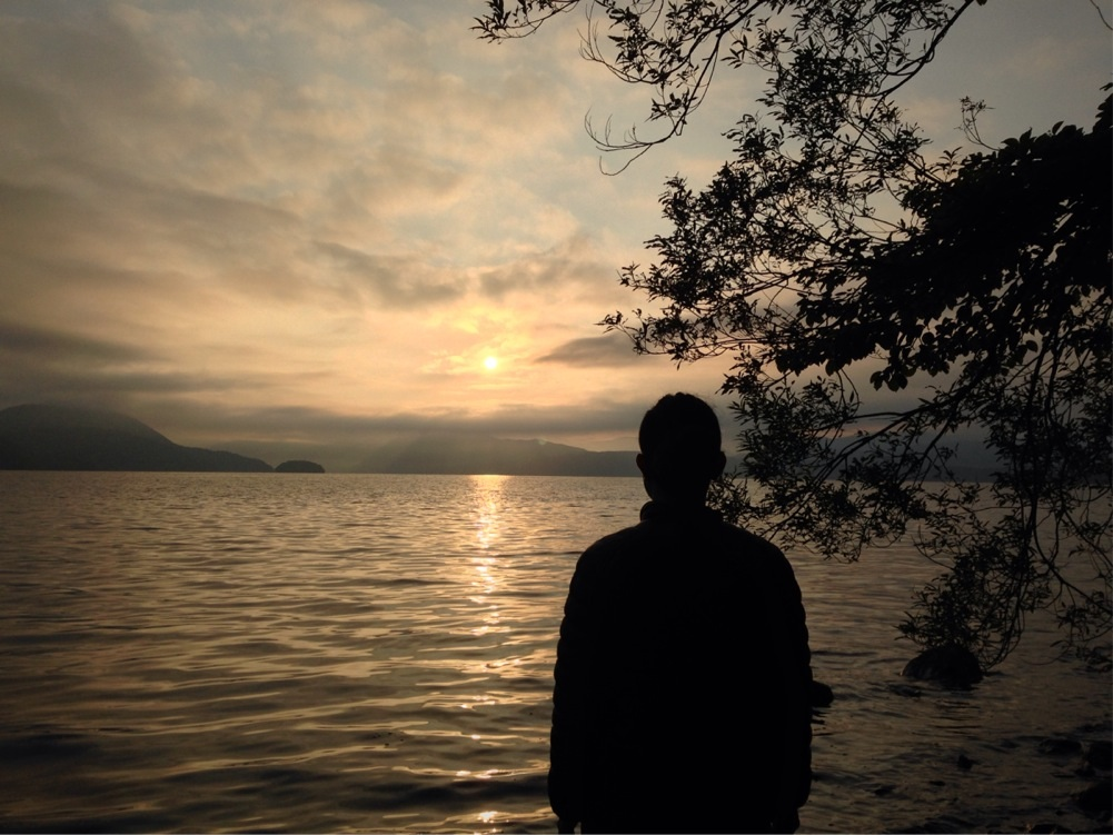 洞爺湖の朝日と遠藤夕幻