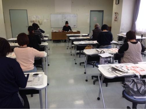 夕幻書道教室 東大島文化センター 体験教室練習風景1