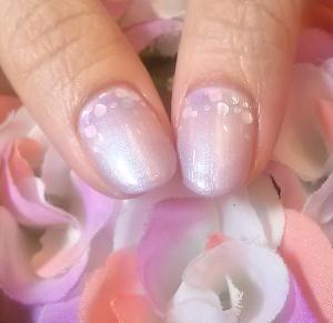 紫陽花カラー パープル一色塗りネイル 白&パープル ホログラムアート