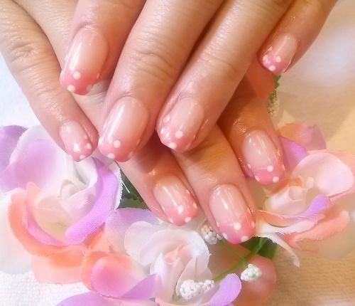 白水玉アートネイルデザイン いちごみるくカラー ピンクフレンチネイル ラブリーネイル