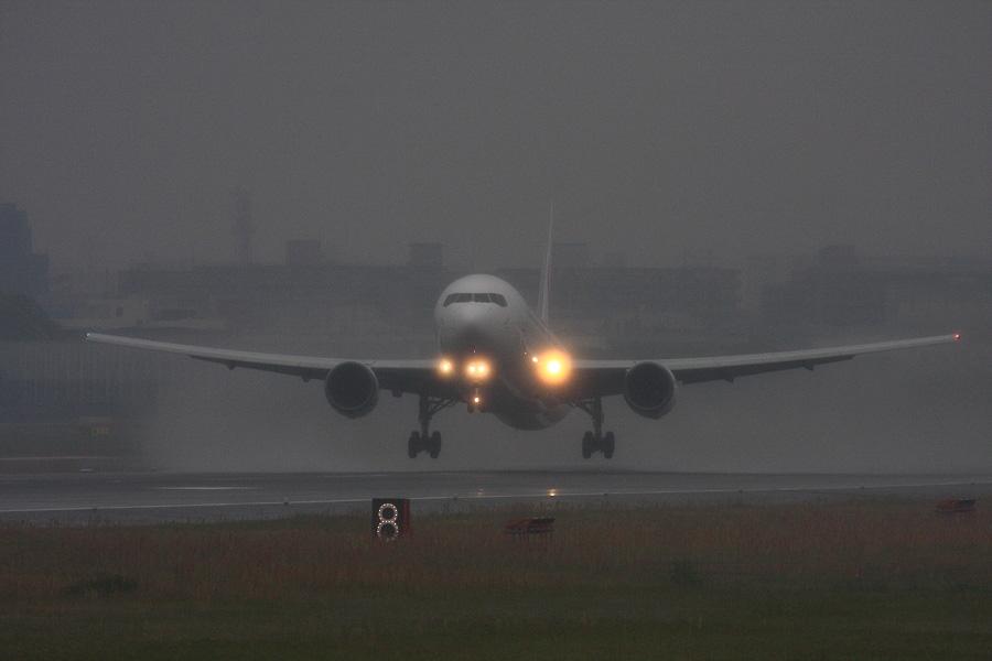 JAL B767-346 / JAL124 (JA8987)@RWY14Rエンド・猪名川土手
