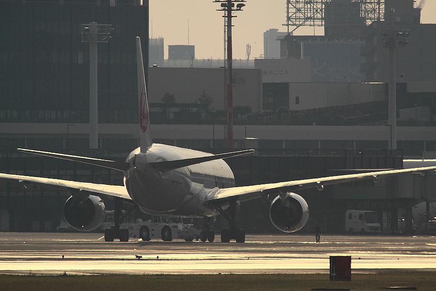 JAL B777-246 / JAL102 (JA771J)@RWY14Rエンド・猪名川土手