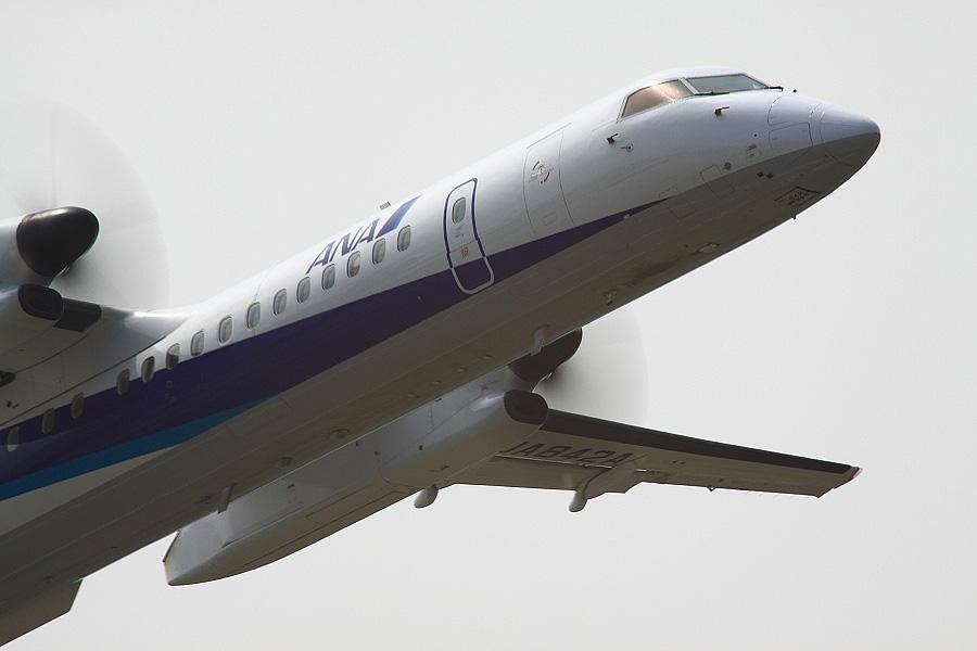 ANA WINGS DHC-8-402Q / ANA1637 (JA842A)@下河原緑地展望デッキ