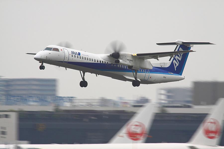 ANA WINGS DHC-8-402Q / ANA1631 (JA852A)@RWY14Rエンド・猪名川土手