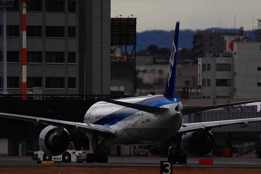 ANA B777-381ER / ANA2176 (JA787A)@RWY14Rエンド・猪名川土手