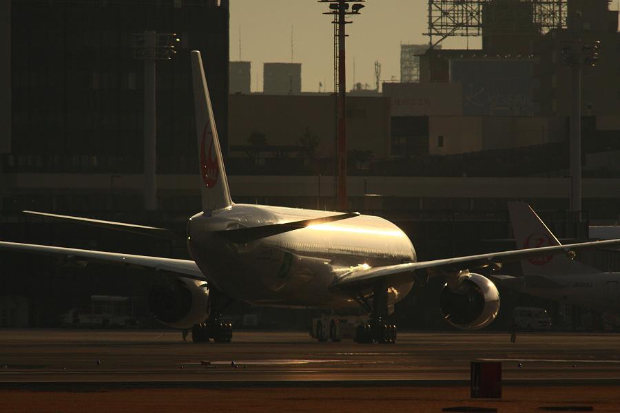 JAL B777-246 / JAL104 (JA8984)@RWY14Rエンド・猪名川土手