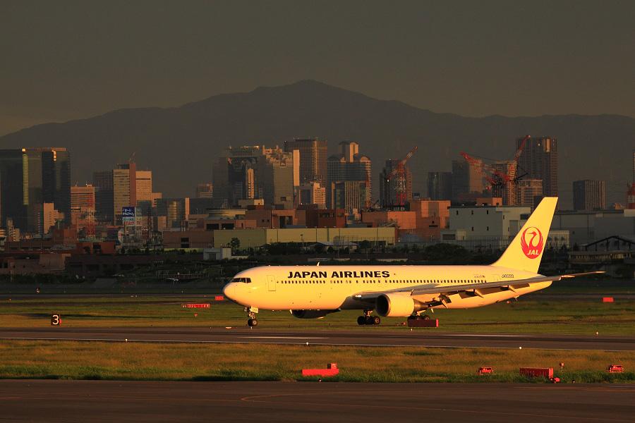 JAL B767-346 / JAL131 (JA8399)@下河原緑地展望デッキ