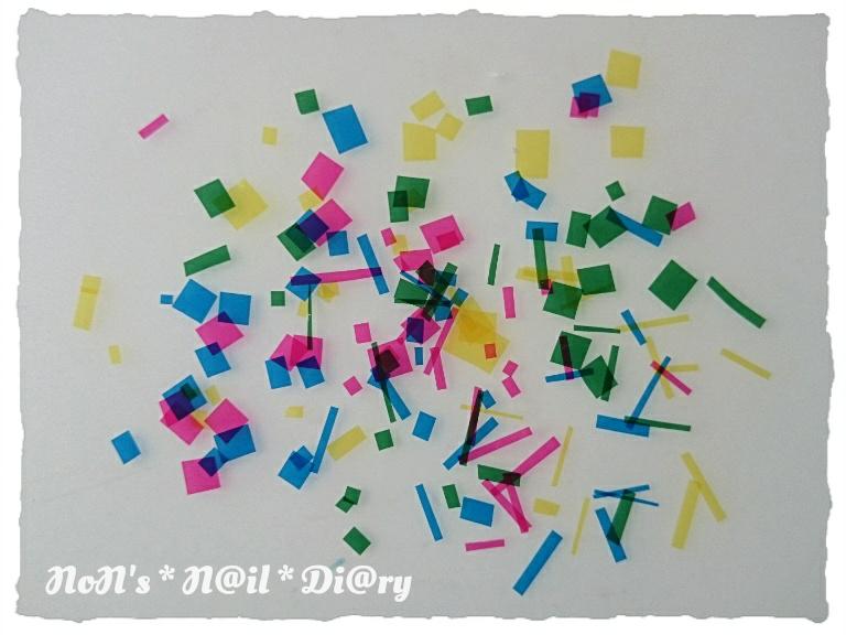 すべての折り紙 長方形の折り紙 : ①セロファンを細かく刻む ...