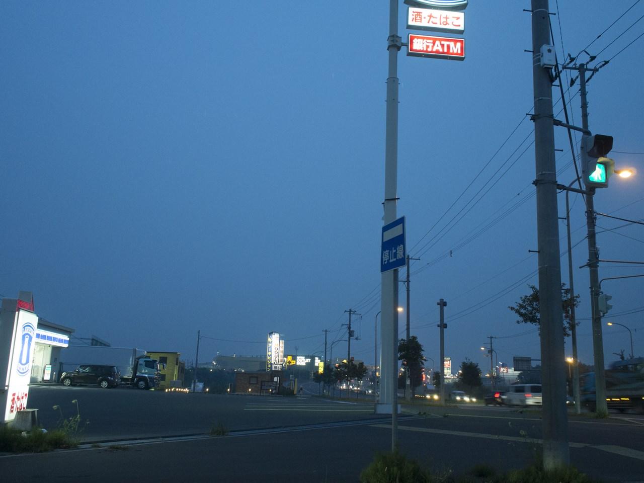 日没後のドライブ風景