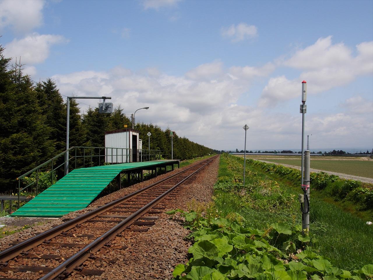 学田駅のホームと鉄路