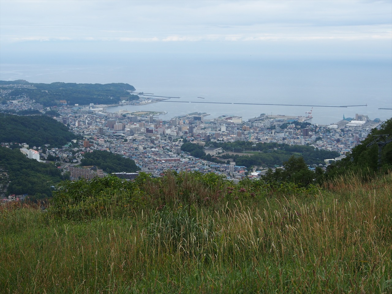 天狗山から眺めた小樽市街と石狩湾