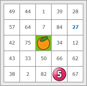 フルーツメール ビンゴゲーム プレイ画面