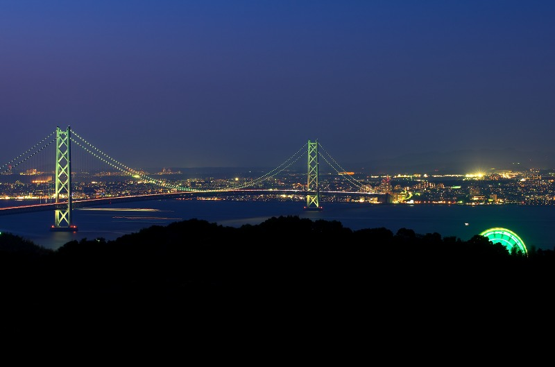 兵庫県立淡路島公園 展望広場 明石海峡大橋 夜景