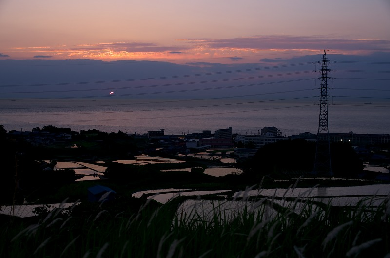 淡路島 石田地区の棚田の夕焼け