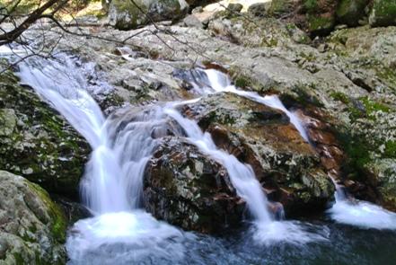 滑床渓谷1三筋の滝