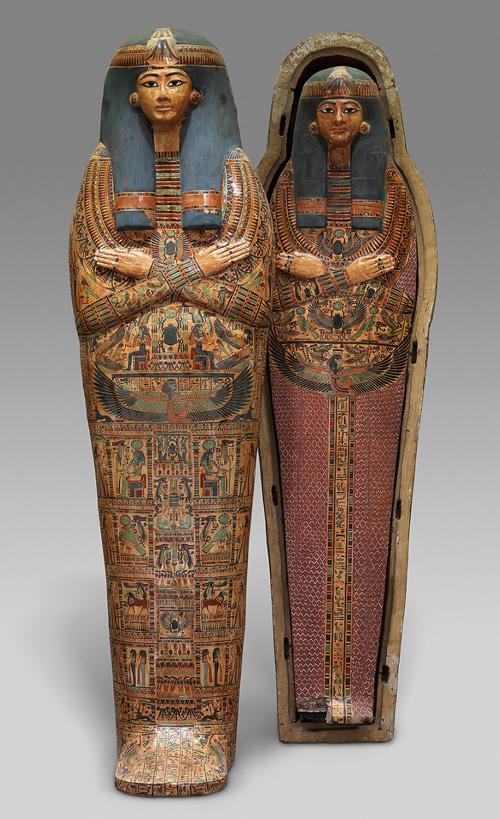 アメン・ラー神の歌い手ヘネトタゥイの人型内棺とミイラ板