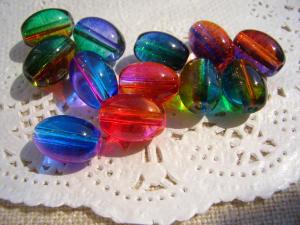 オーバルガラスビーズ6色