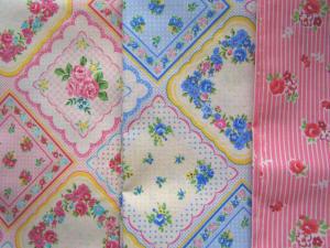 スカーフパネル2色、ピンクストライプ×バラ