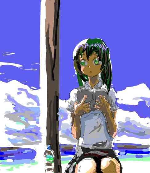 夏の読書少女模写