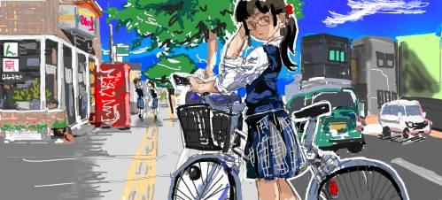 自転車少女模写