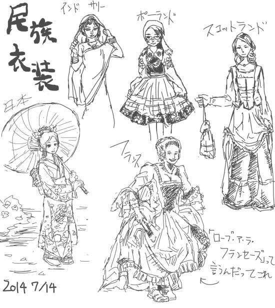 民族衣装模写