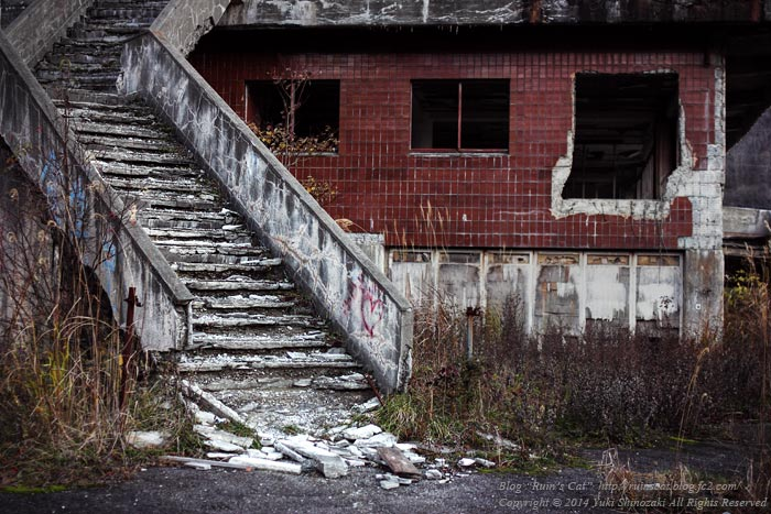 横向温泉ロッジ_2階への階段(全体)