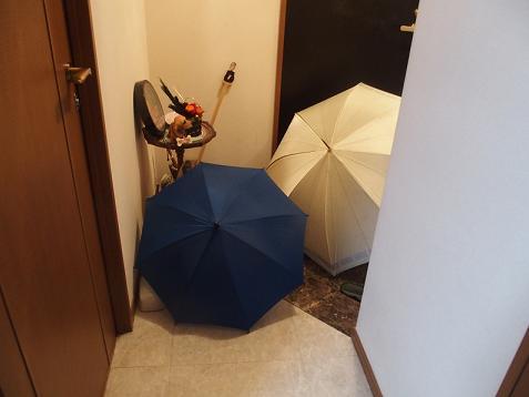 玄関に傘2個になったでしゅ