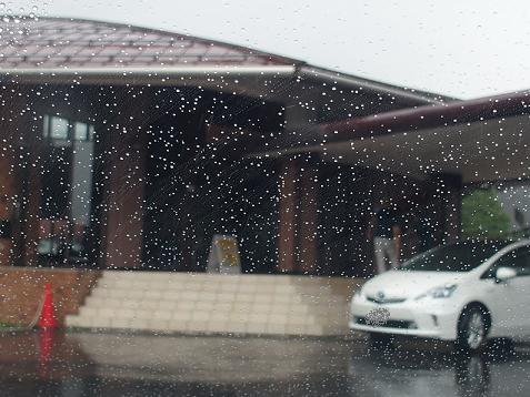 着いた時は、ドシャ降りの雨でしゅ