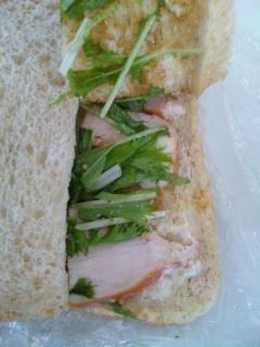 チキンと水菜のサンド