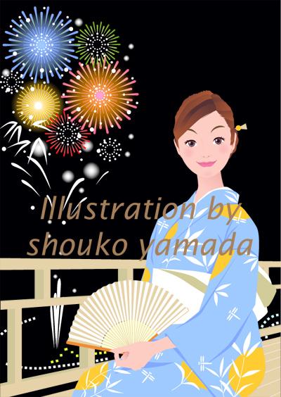 夏・花火を見ている浴衣を着た女性イラスト(人物画像サンプル)