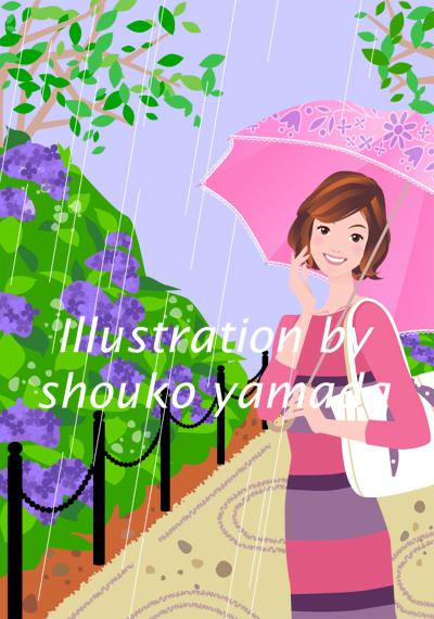 入梅(雨)アジサイと傘をさした女性イラスト(人物画像)