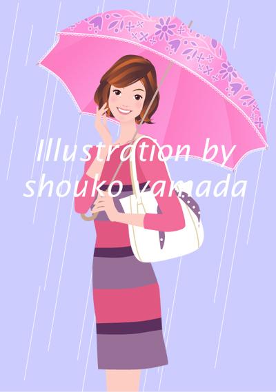 雨 入梅 傘をさした女性イラスト 人物画像素材