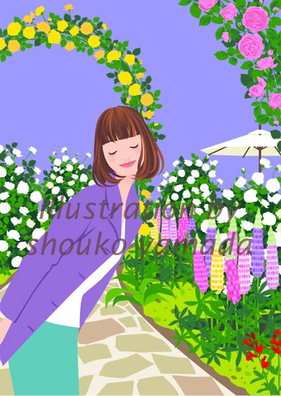 初夏・ローズガーデンでバラの香りに酔いしれている女性のイラスト 人物画像素材