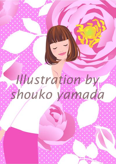 初夏・ローズガーデン バラの香り 女性イラスト画像素材