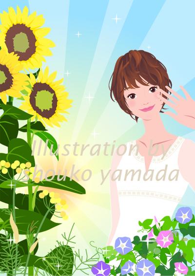 夏 朝の女性イラスト 人物画像素材 ひまわり 朝顔