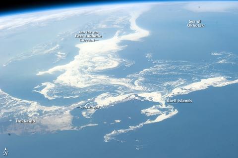 流氷を宇宙から見ると