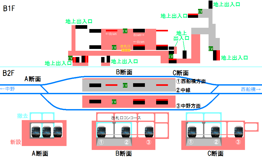 南砂町駅の改良後の構内図