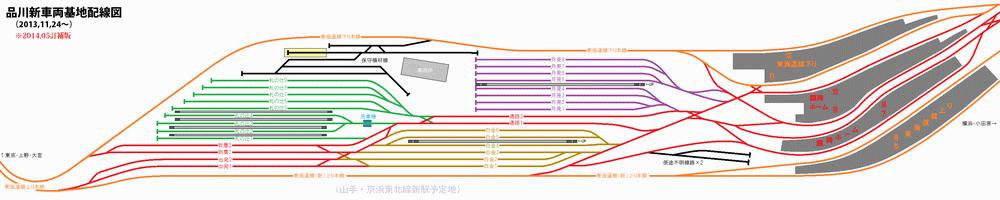 品川駅・新車両基地の完成時の配線図。(東海道線の部分のみ)