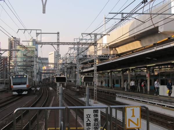 神田駅のホーム端から上野方面を見る。