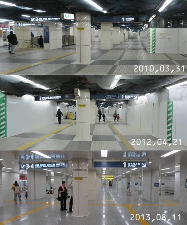 豊洲駅前交差点改札口をはいって地下2階に下りた地点の工事前中後比較。両側に見える階段は柱1スパン分奥に移設された。