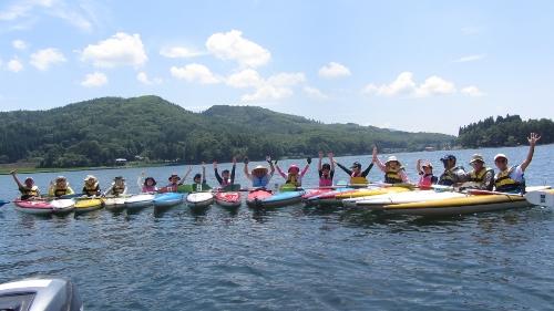 7月29日クラブの木崎湖カヌー体験 (500x281)