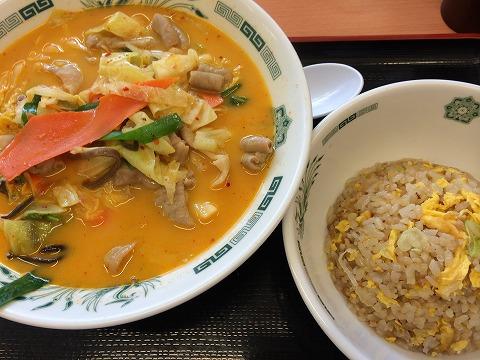 日高屋のモツ野菜ラーメンセット